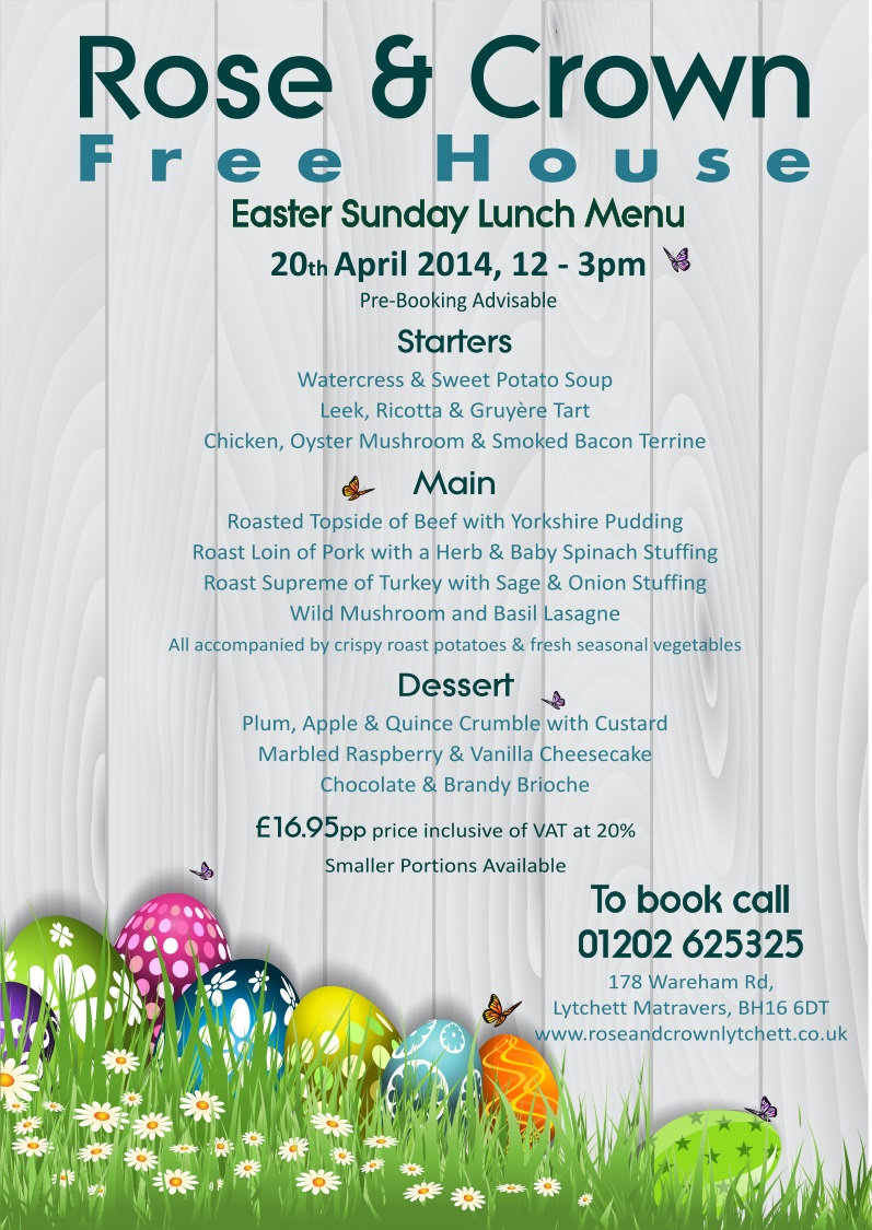 Rose & Crown Lytchett - Easter Menu 14