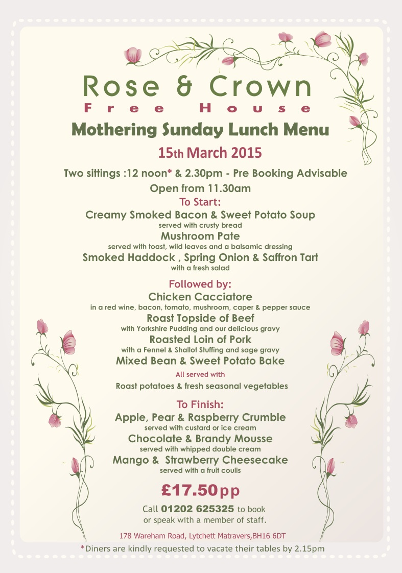 Mothering Sunday at The Rose & Crown, Lytchett