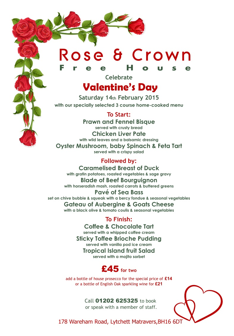 Rose & Crown Lytchett - Valentine's Day Menu