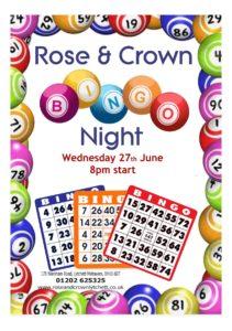 Bingo Night Weds 27th June 8pm Rose & Crown, Lytchett