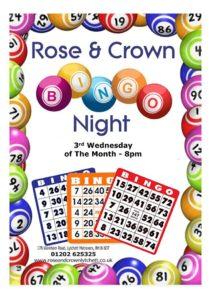 Bingo 3rd Wednesday of each month at The Rose & Crown, Lytchett
