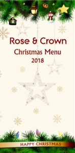 Christmas Menu - Rose & Crown, Lytchett