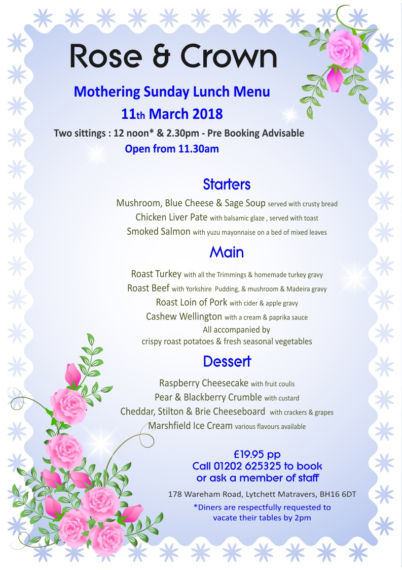Mothers Day Rose & Crown, Lytchett