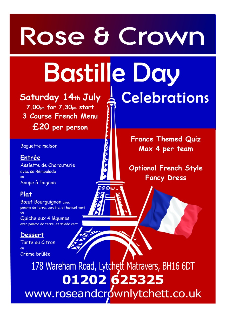 Bastille Day 14th July 2018 Rose & Crown, Lytchett