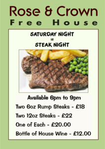 Steak Night Saturday Nights at The Rose & Crown, Lytchett
