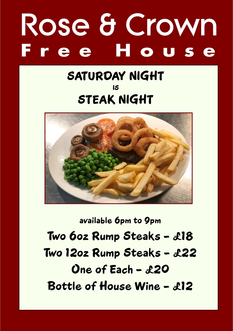 Steak Night at The Rose & Crown, Lytchett