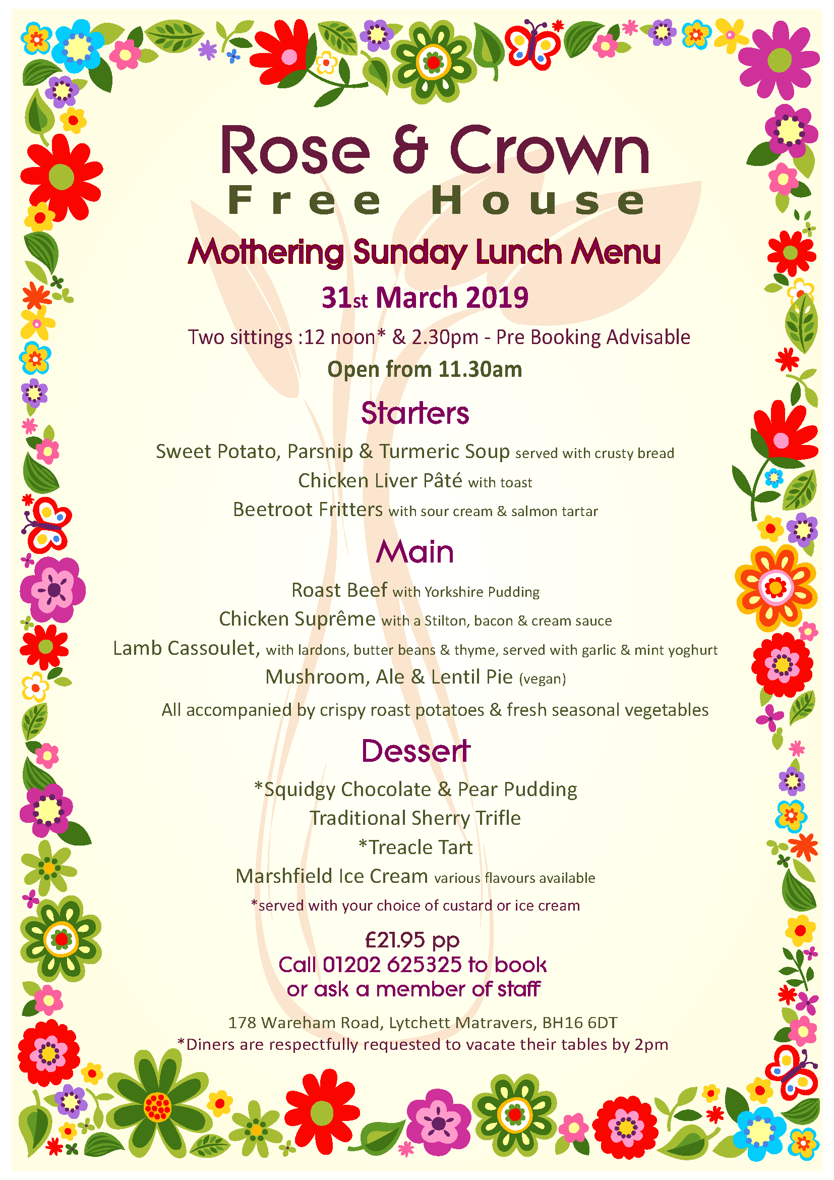 Mothers Day 2019 at The Rose & Crown - Please book early