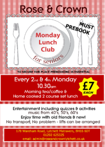 Monday Lunch Club 2nd & 4th Monday of Each Month